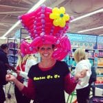 auntie jojo in pink balloon hat