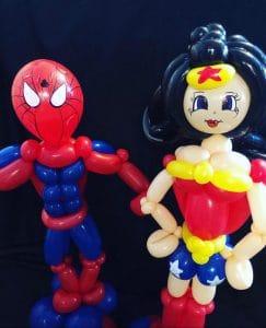 spiderman and wonder woman balloon models