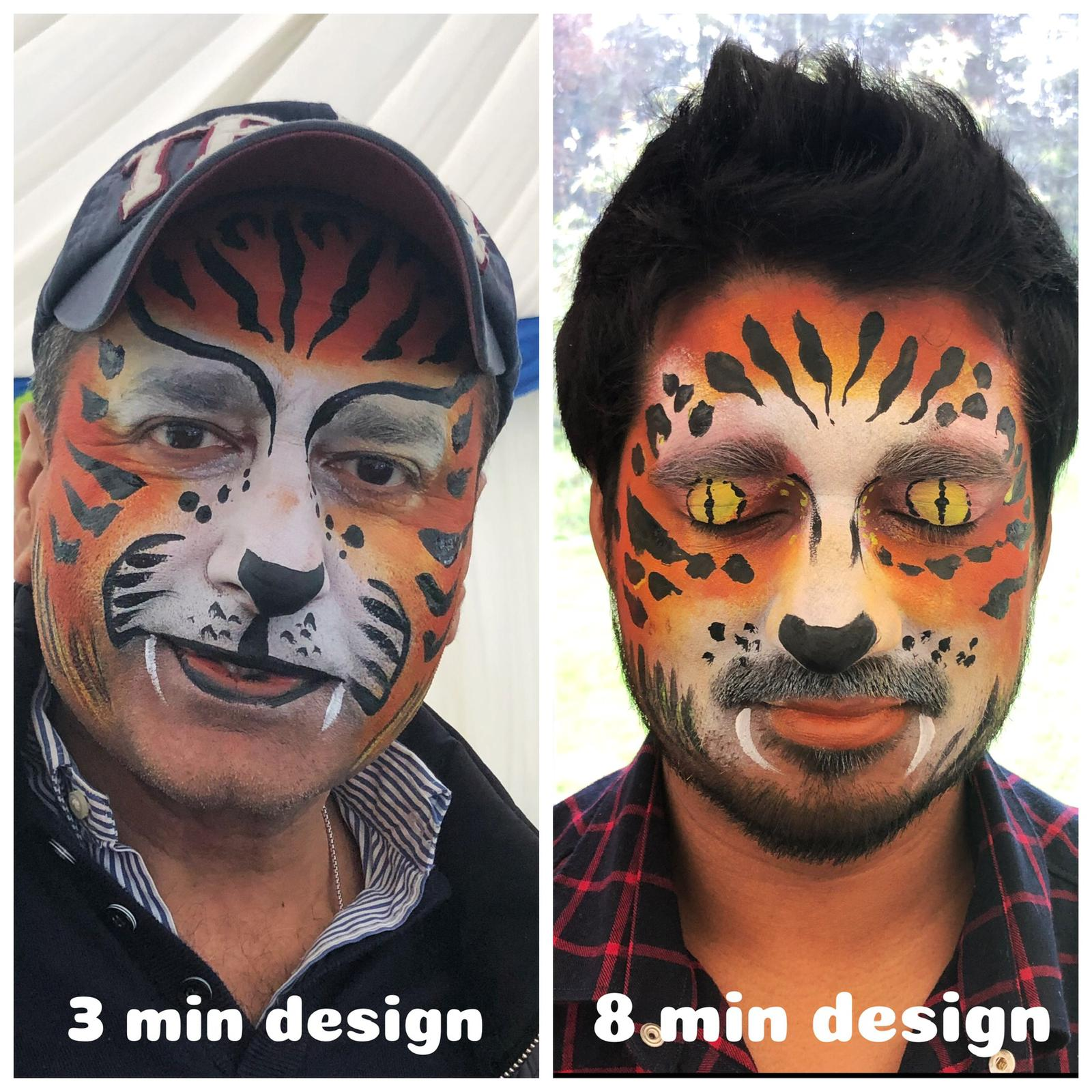 men with tiger face paint